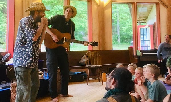 Doug Elliott and Michael Ismario performing at Earthaven Ecovillage