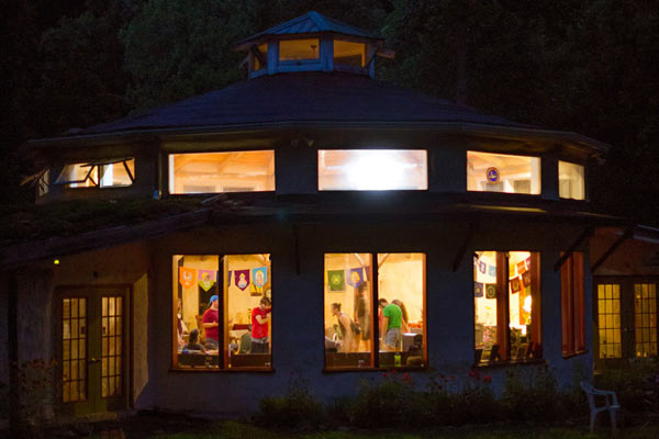 Earthaven Ecovillage Council Hall at Night