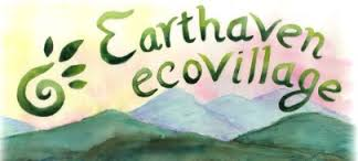 Logo for Earthaven Ecovillage watercolor style with mountains and plant