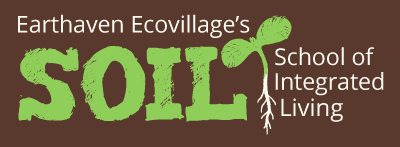 SOIL logo noting Earthaven Ecovillage location, stylized acronym and sprout drawing