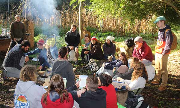 Permaculture instructor Zev Friedman teaching college group