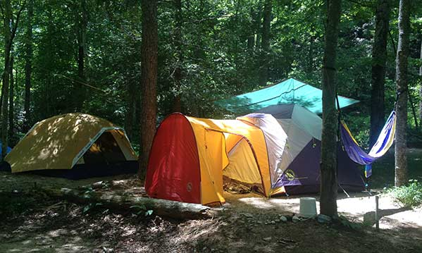 Tents at the Earthaven campground