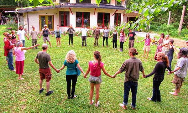 Gathering circle at Earthaven Ecovillage