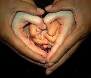 Hands of various skin tones held together forming a heart shape